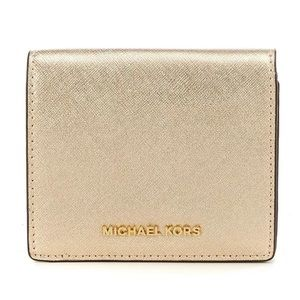 Michael Kors pale gold saffiano leather wallet